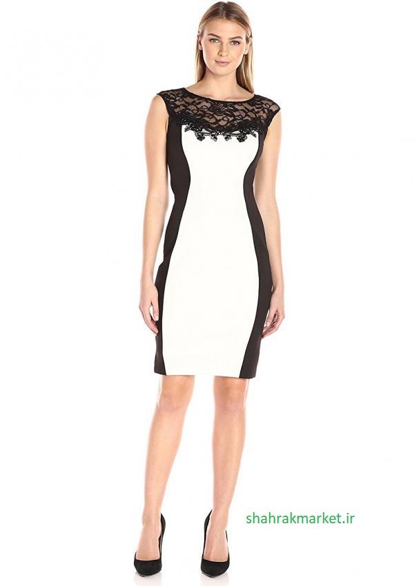 لباس سفید با توری مشکی