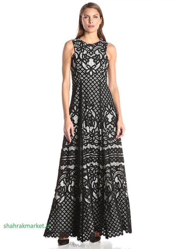لباس بلند زنانه با توری مشکی