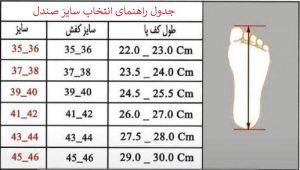 جدول راهنمای انتخاب سایز صندل